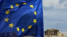 A European Union flag is seen in front of the Parthenon temple in Athens. (JOHN KOLESIDIS/JOHN KOLESIDIS/REUTERS)
