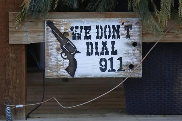 A sign on Sandra McLeod's ranch near Sylvan Lake, Alta.