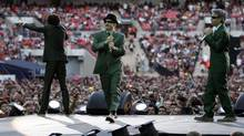 The Beastie Boys perform during the Live Earth concert at Wembley Stadium in London, July 7, 2007. On Wednesday, U.S. toy maker GoldieBox ended a legal row with the group over the use of a parody of one of its songs in an ad. (STEPHEN HIRD/REUTERS)