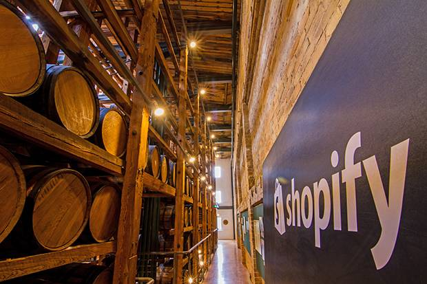 Shopify's Waterloo office is an homage to the building's origins as a Seagrams distillery.