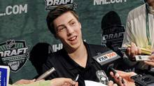 Ryan Nugent-Hopkins, a top NHL draft prospect, speaks with reporters Thursday, June 23, 2011, in Minneapolis, the day before the NHL entry draft Friday in St. Paul, Minn. (Jim Mone)