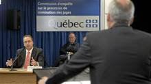 Commission lawyer Giuseppe Battista, right, questions former Quebec Justice Minister Marc Bellemarre, left, at the Inquiry Commission into the appointment process for judges, Wednesday, August 25, 2010 in Quebec City. (Jacques Boissinot/The Canadian Press/Jacques Boissinot/The Canadian Press)