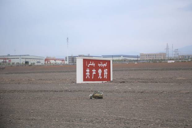 A road sign outside Turpan reads: 'The Communist Party is good.'