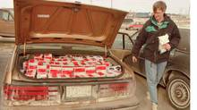 A trunk full of contraband cigarettes seized by police at Bowmanville, Ont., in 1994.