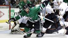 Dallas Stars defenseman Alex Goligoski (33) celebrates his goal against the Anaheim Ducks in the third period of Game 4 of a first-round NHL hockey Stanley Cup playoff series, Wednesday, April 23, 2014, in Dallas. (Associated Press)