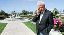 Magna chairman and founder Frank Stronach takes a call at the company's Aurora, Ont., headquarters. (J.P. MOCZULSKI/J.P. MOCZULSKI)