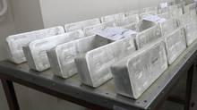 Ingots of 99.99 percent pure silver. (ILYA NAYMUSHIN/REUTERS)