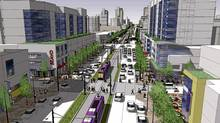 Rendering of a proposed transit line on Hurontario Street in Mississauga, Ont.