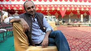 Pakistani novelist Mohsin Hamid on the set of the film version of his
