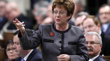 Canada's Human Resources Minister Diane Finley speaks during Question Period in the House of Commons on Parliament Hill in Ottawa February 26, 2013. (CHRIS WATTIE/REUTERS)