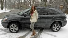 Children's author Heather Hartt-Sussman and her Lexus. (Fernando Morales/Fernando Morales/The Globe and Mail)