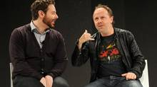 Spotify director Sean Parker, left, made very public peace with Metallica drummer and anti-piracy campaigner Lars Ulrich in December. But it is not clear whether legal music streaming services will save the business. (Kevin Mazur/WireImage)