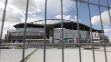 Construction continues at Investors Group Field, after the Bombers' CEO announced delays in construction, on Friday, June 15, 2012 in Winnipeg. The Bombers' will play their entire campaign at Canad Inns Stadium. (Trevor Hagan/THE CANADIAN PRESS)