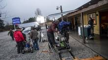 "A film crew on the set of ""Bates Motel,"" a new series on A&E, in Aldergrove, B.C., in January 2013. (Stuart Isett/The New York Times)"