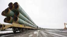 Rail cars loaded with pipe for the first Keystone pipeline sit on a siding in Milton, N.D. (Eric Hylden/Associated Press/Eric Hylden/Associated Press)