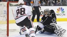 Chicago Blackhawks right wing Patrick Kane scores a second period goal (DANNY MOLOSHOK/REUTERS)
