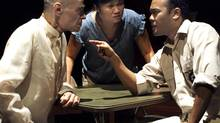 Earl Pastko, Nina Lee Aquino and Jon de Leon in Every Letter Counts at Factory Theatre. (Nir Bareket)