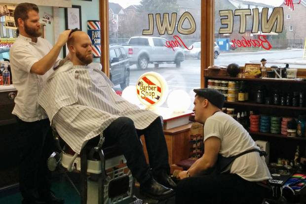 In an image from Shiners, Vincent Zacharko gives and old school shine at the Nite Owl Barber Shop in Etobicoke.