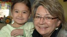 Mary Simon with Hailey Kublu at the Ottawa Inuit Children's Centre. (Patricia D'Souza/ITK)