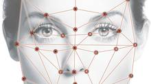An overlay depicts how facial recognition software pinpoints certain features and compares them to a database. The distance between the eyes and the shape of the cheekbone can be used to determine characteristics like sex and age. (The Globe and Mail/The Globe and Mail)