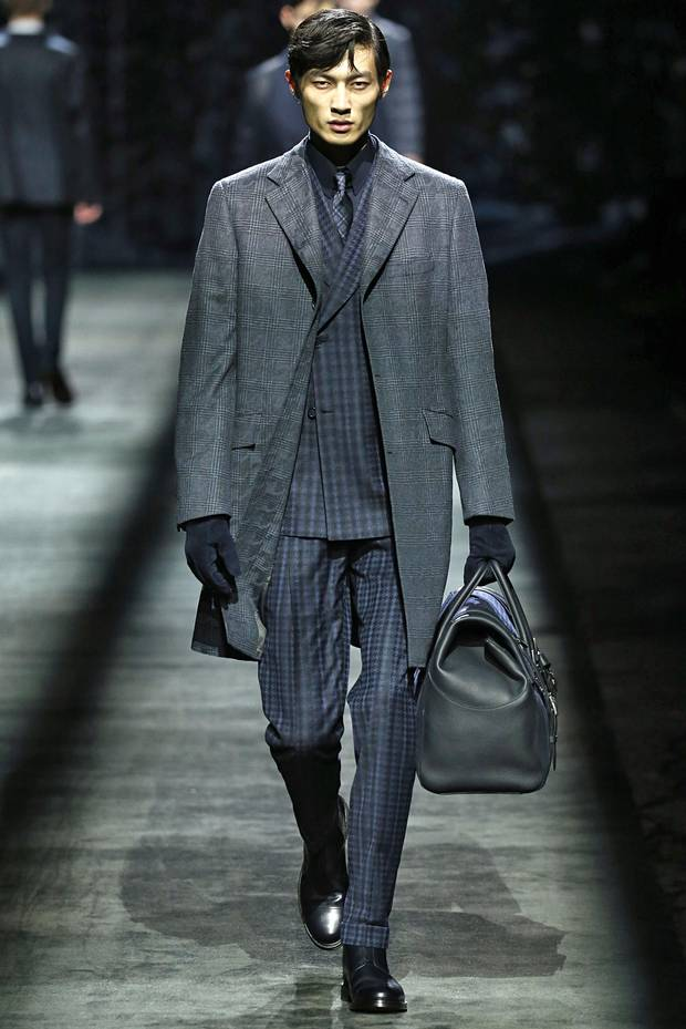 Brioni: Checks were balanced by a trim silhouette on this dapper offering by Abruzzo, Italy-based brand Brioni.