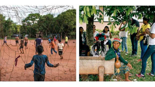 Left: A soccer game on the Amambai reserve. Right: Naoza Gonsalves of the Kaiowa people attends a suicide-prevention meeting in Amambai.