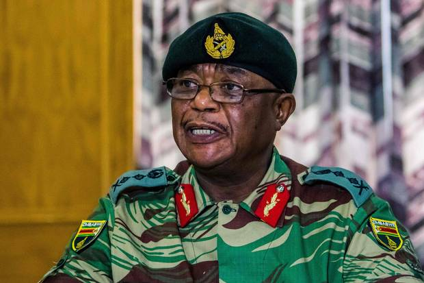 Nov. 13: General Constantino Chiwenga addresses a news conference held at the Zimbabwean Army Headquarters in Harare.