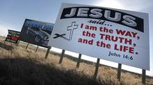 Billboards are shown in a field on the outskirts of the town Steinbach, Manitoba, on March 26, 2012. A Manitoba anti-bully bill has come under fire in Steinbach, a small city with a strong Mennonite population. (John Woods for The Globe and Mail)