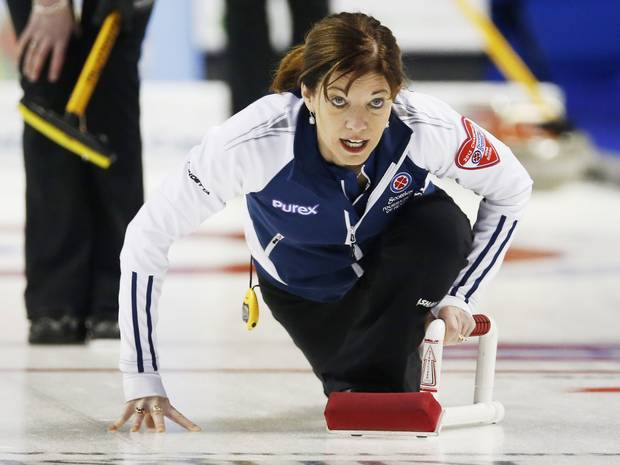 Nova Scotia's Colleen Jones calls a shot against New Brunswick during the fifteenth draw at the Scotties Tournament of Hearts curling championship in Kingston February 22, 2013