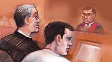 Filmmaker Mark Twitchell, centre, is shown in courtroom sketch with his defence lawyer Charles Davison on Wednesday March 16, 2011. (Amanda McRoberts/The Canadian Press/Amanda McRoberts/The Canadian Press)
