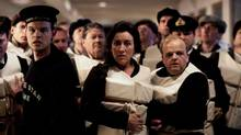 "Maria Doyle Kennedy (as Muriel Batley) and Toby Jones (as John Batley) in a scene from ""Titanic"""