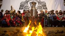 L.A. kings hockey player Willie Mitchell with the Stanley Cup in Alert Bay at the Namgis first nation near his home town of Port McNeill August 12, 2012. (John Lehmann/The Globe and Mail)