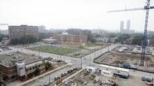 A view of Regent Park is seen from 230 Sackville St., Toronto Community Housing's newest rental building, on Sept. 20, 2013. (MATTHEW SHERWOOD FOR THE GLOBE AND MAIL)