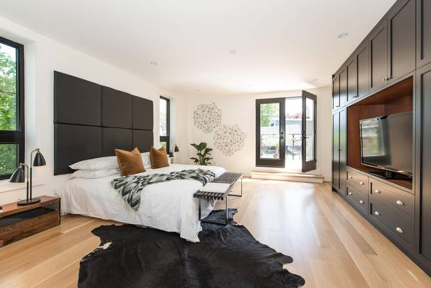 The master bedroom has access to an outdoor terrace.