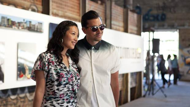 Elaine Lui and Dan Levy during Lainey Gossip's SMUT Soiree Toronto at the Evergreen Brick Works. (Della Rollins/Della Rollins for the Globe and)