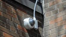 A closed-circuit television camera at the Atkinson Housing Co-operative in the Alexandra Park neighbourhood of Toronto. (Kevin Van Paassen/The Globe and Mail)