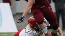 McMaster's Tanner during first-half action of the 105th Yate's Cup, Ontario University Athletics football championship game, between the University of Guelph Gryphons and the McMaster University Marauders, in Hamilton, Ontario, on Saturday, Nov. 10, 2012. (Dave Chidley/THE CANADIAN PRESS)