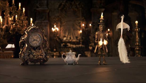 The mantel clock Cogsworth, the teapot Mrs. Potts, Lumiere the candelabra and the feather duster Plumette live in an enchanted castle in Disney's Beauty and the Beast.