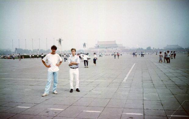 Justin Trudeau and younger brother Alexandre in Tiananmen Square during the Prime Minister's second visit to China with father Pierre – and just a year after the infamous 1989 uprising.