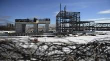 The partially built structure of a gas-fired power plant that was to be constructed in Mississauga, Ont., photographed Feb. 21 2013. (Fred Lum/The Globe and Mail)