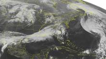 This NOAA satellite image taken Oct. 17, 2012 at 1:45 a.m. EDT shows Hurricane Rafael beginning to move rapidly northeastward away from Bermuda. (Weather Underground/AP)