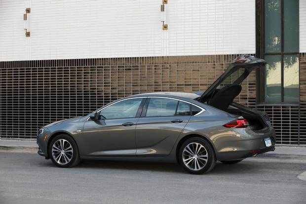 """Buick calls the vehicle a """"sportback"""" because the entire cargo door lifts from the back of the roof, including the rear window, to create considerably more luggage space."""