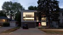 "The flat-roofed ""5/6 House,"" designed by architect Reza Aliabadi in the Toronto suburb of North York. Project Team: Reza Aliabadi, Mehrdad Tavakolian, Lailee Soleiman. Project Manager: Ali Saeed. Completed 2011. (borXu Design/borXu Design)"