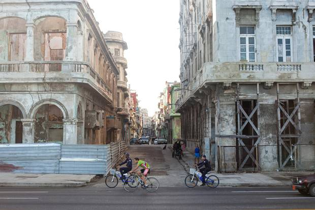 Old buildings under construction along Havana's famous Malecón roadway.