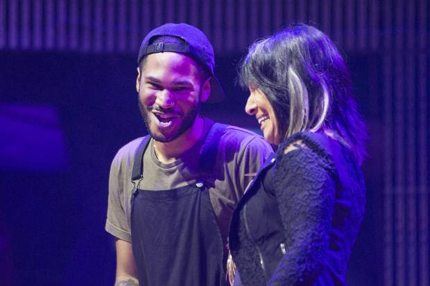 Kaytranada, left, is congratulated by Buffy St. Marie after being awarded the 2016 Polaris Music Prize in Toronto on Monday, September 19, 2016.