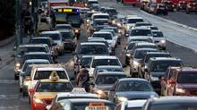 Traffic jam near Spadina and Front in Toronto. (Deborah Baic/The Globe and Mail)