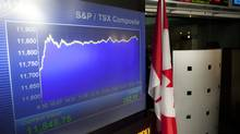 The screens at the TMX Broadcast Centre in Toronto show the closing numbers of the TSX at + 252.19 on Tuesday, July 3, 2012. (Matthew Sherwood For The Globe and Mail)