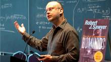 Robert Sawyer speaks at the Perimeter Institute, in Waterloo, Ont., in 2005 (Philip Walker)