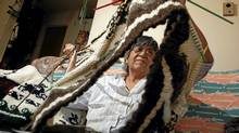 May Sam knits a traditional sheep's wool Cowichan sweater that she's creating from her home in Brentwood Bay. (Chad Hipolito/The Globe and Mail/Chad Hipolito/The Globe and Mail)
