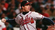 Atlanta Braves Greg Maddux pitches to the Cleveland Indians in the first inning of Game 5 of the World Series at Jacobs Field in Cleveland, Thursday, Oct. 26, 1995. (Associated Press)
